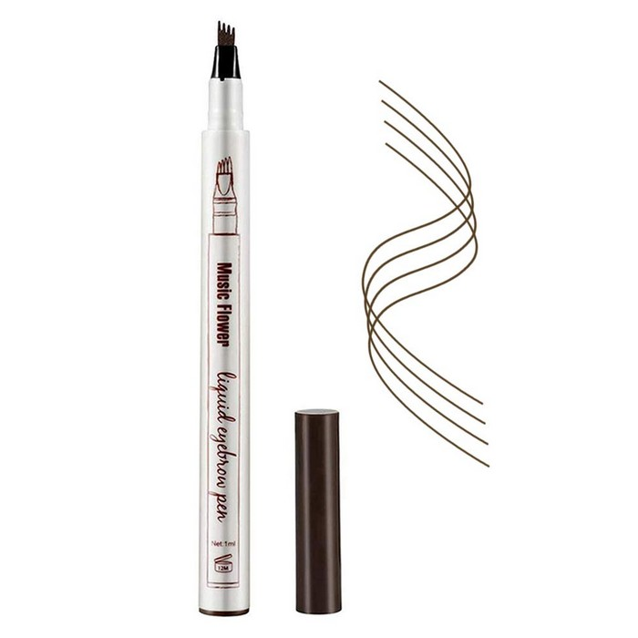 Eyebrow Pencil,Micro Ink Brow Pen 4 Points Eyebrown Pen Eyebrow Tattoo Pen Microblading Eyebrow Pen Tat BrowWaterproof & Smudge-Proof With Four Micro-Fork Tips Applicator for Natural Eye Makeup